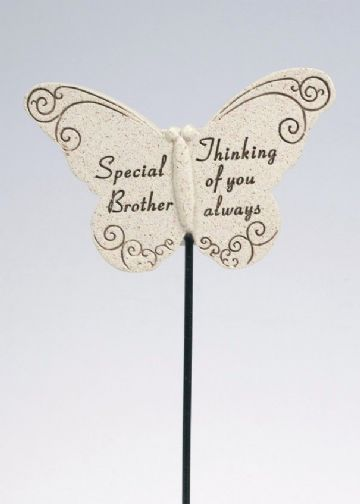Special BROTHER Butterfly Sentimental Memorial Grave Stick DF13264J